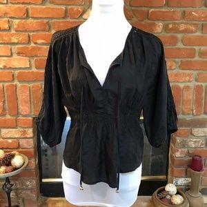 Juicy Couture Silk Tie Sleeve Blouse Top
